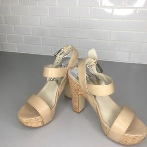Michael Kors Ivana nude cork heels sandals SZ 8